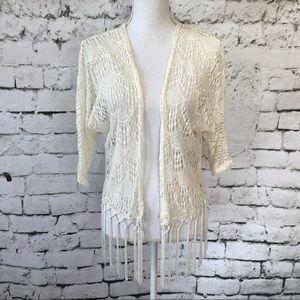 Blu Planet Crocheted Boho Fringe Shrug Size: M